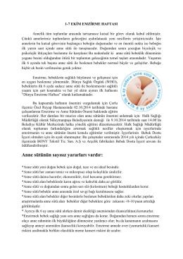 1-7 ekim emzirme haftası - Tekirdağ Halk Sağlığı Müdürlüğü