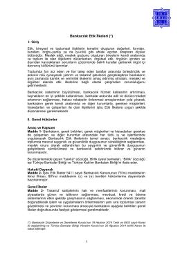 Bankacılık Etik İlkeleri (*)