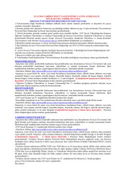 son başvuru tarđhđ: 05/12/2014 ercđyes ünđversđtesđ rektör