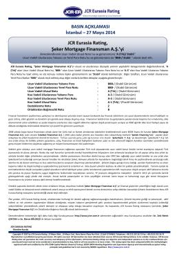 JCR Eurasia Rating, Şeker Mortgage Finansman A.Ş.