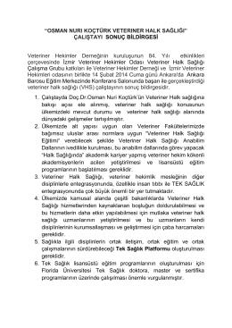 Osman Nuri Koçtürk VHS Çalıştayı Sonuç Bildirgesi