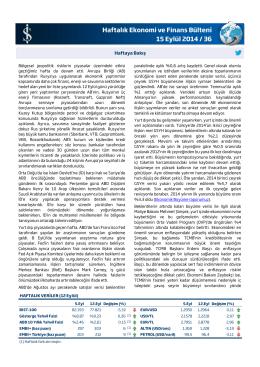 Haftalık Ekonomi ve Finans Bülteni 15 Eylül 2014 / 36