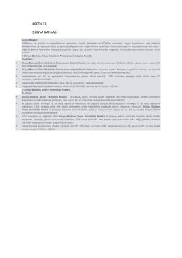 Dünya Bankası İkinci Kobilerin Finansmana Erişimi Kredisi ve
