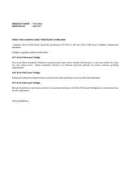 Sirküler 2014-047 - VERGİ USUL KANUNU GENEL TEBLİĞLERİ