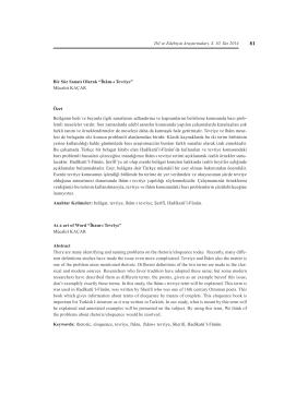 Îhâm-ı Tevriye - Dil ve Edebiyat Araştırmaları