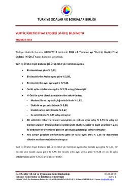2014 Yılı Temmuz Ayı Yurt İçi Üretici Fiyat Endeksi B.N.