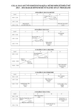 2013-2014 Bahar Yarıyılı Bütünleme Programı (İlk Hafta)
