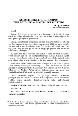 ALAKUŞ, Ali Osman-KÜLTÜREL ETKİLEŞİM BAĞLAMINDA