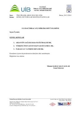 Genel Duyurular Muhtelif Konular 24.11.2014