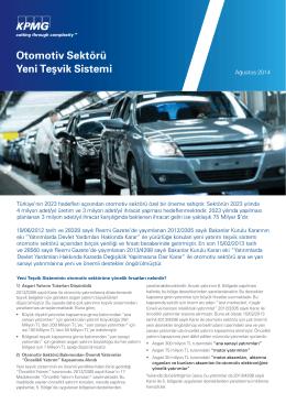 Otomotiv Sektörü Yeni Teşvik Sistemi