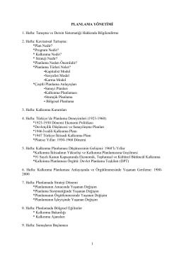 1 PLANLAMA YÖNETİMİ 1. Hafta - SBF Yönetim Bilimleri