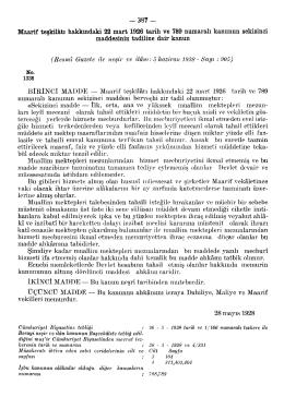 Maarif teşkilâtı hakkındaki 22 mart 1926 tarih ve 789
