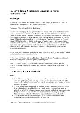 167 Sayılı İnşaat Sektöründe Güvenlik ve Sağlık Sözleşmesi, 19881