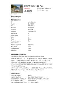 BMW 1 Serisi 1.20i Aut. 49.500 TL İlan detayları