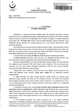 Genel Yazı - Yönetim Hizmetleri Genel Müdürlüğü