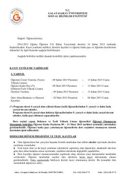 T.C. GALATASARAY ÜNİVERSİTESİ SOSYAL BİLİMLER