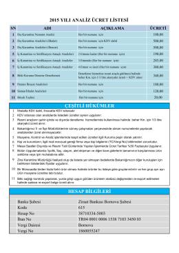 2015 yılı analiz ücret listesi çeşitli hükümler hesap bilgileri