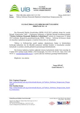Türkiye Sırbistan Ekonomik İlişkilerin Geliştirilmesi Sempozyumu Hk
