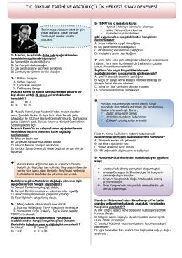 tc inkılap tarihi ve atatürkçülük merkezi sınav denemesi