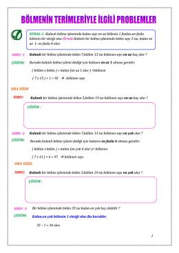 Page 1 1 Kalanlı bir bölme işleminde bölen 7,bölüm 13 ise bölünen