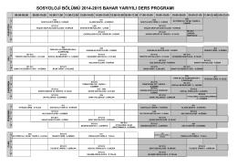 2014-2105 Bahar Dönemi Ders Programı