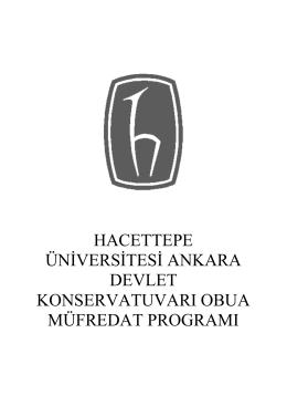 Obua Sanat Dalı Lise Müfredatı - Hacettepe Üniversitesi Ankara