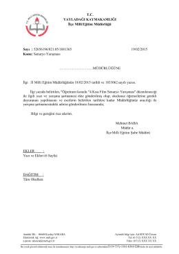 Senaryo Yarışması - yayladağı ilçe millî eğitim müdürlüğü