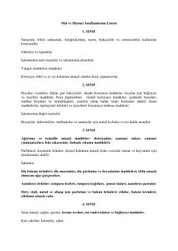 Mal ve Hizmet Sınıflandırma Listesi 1. SINIF