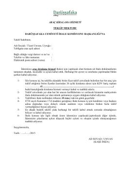 teklif mektubu - Darüşşafaka Cemiyeti