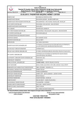 23.02.2015 - Kartal Koşuyolu Yüksek İhtisas Eğitim ve Araştırma