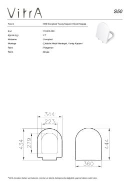 Tanım : S50 Duroplast Yavaş Kapanır Klozet Kapağı Kod : 72
