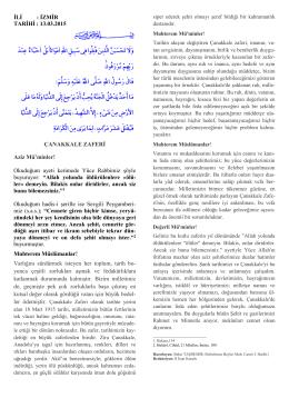 İLİ : İZMİR TARİHİ : 13.03.2015 ÇANAKKALE ZAFERİ Aziz Mü`minler