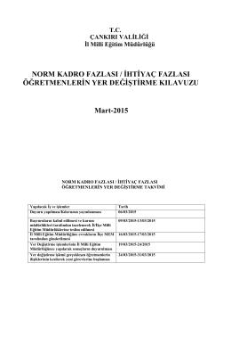 NORM KADRO FAZLASI / İHTİYAÇ FAZLASI ÖĞRETMENLERİN