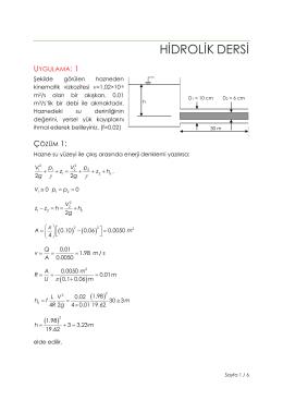 Şekilde görülen hazneden kinematik vizkozitesi n = 1,02 x 10