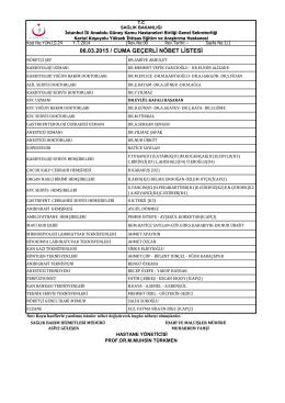 06.03.2015 / cuma geçerli nöbet listesi