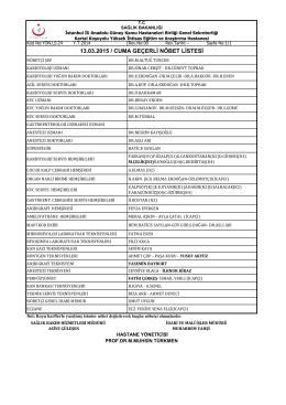 1 - Kartal Koşuyolu Yüksek İhtisas Eğitim ve Araştırma Hastanesi
