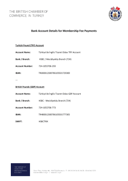 Bank Account Details for Membership Fee Payments