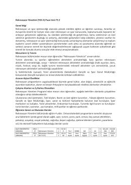Rekreasyon Yönetimi (YGS-3) Puan türü TS 2 Genel bilgi