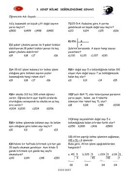 bölme sınav - Kartanelerim.com