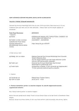 İhale Kayıt Numarası :2015/3314 1-İdarenin a) Adresi : KARAKAVAK