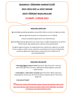 ERASMUS+ ÖĞRENİM HAREKETLİLİĞİ 2015