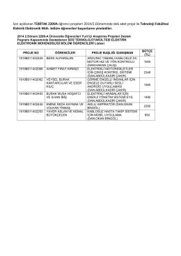 Son açıklanan TÜBİTAK 2209A öğrenci projeleri 2014/2.Döneminde