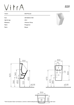 Tanım : S20 Pisuvar Kod : 5461B003-0199 Ağırlık (kg) : 20,9