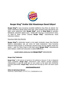 Burger King® Krallar Gibi Hissetmeye Davet Ediyor!