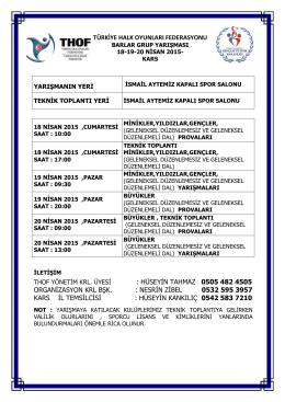 kars grup yarışması programı - Türkiye Halk Oyunları Federasyonu