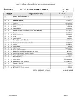 1.9 Bütçe Giderlerinin Ekonomik Sınıf Tablosu