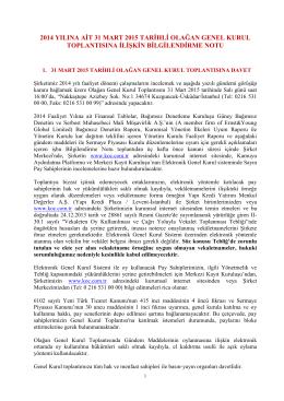 2015 Olağan Genel Kurul Bilgilendirme Dokümanı
