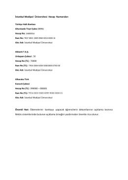 İstanbul Medipol Üniversitesi Hesap Numaraları Önemli Not
