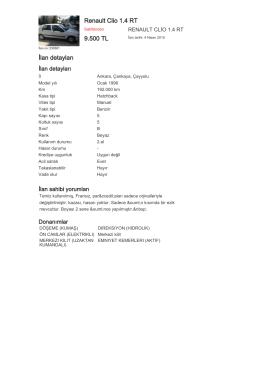 Renault Clio 1.4 RT 9.500 TL İlan detayları