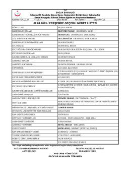 02.04.2015 / perşembe geçerli nöbet listesi